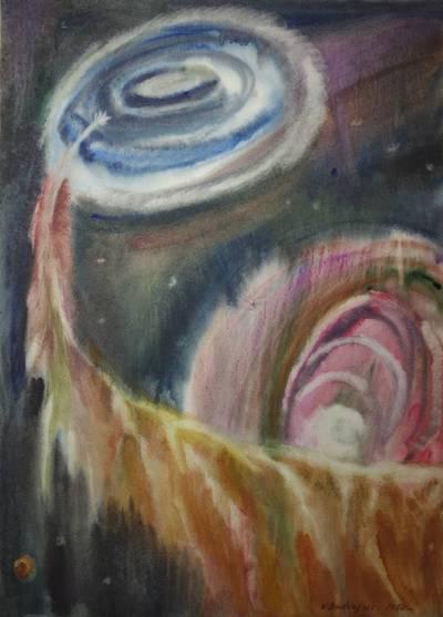 Valerijus Bodiajus. Meno kūrinys. Akvarelė kosmoso tema. 1980