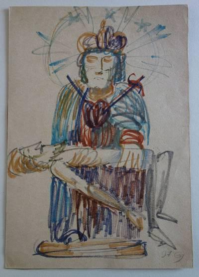 """Genovaitė Jacėnaitė. Piešinys """"Pieta"""". 1996"""