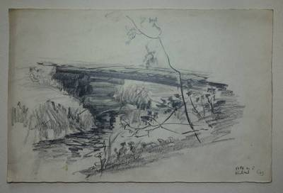 """Genovaitė Jacėnaitė. Piešinys """"Kuliai"""". 1956-06-05"""