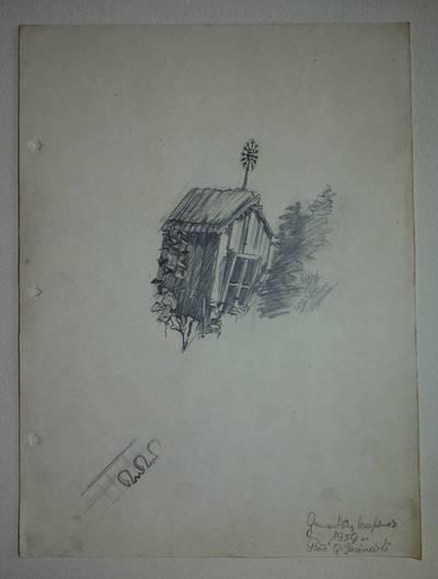 """Genovaitė Jacėnaitė. Piešinys """"Gruzdžių kapinės"""". 1959"""
