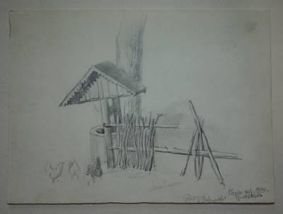 """Genovaitė Jacėnaitė. Piešinys """"Vievio rajonas. Juodekelis"""". 1959"""