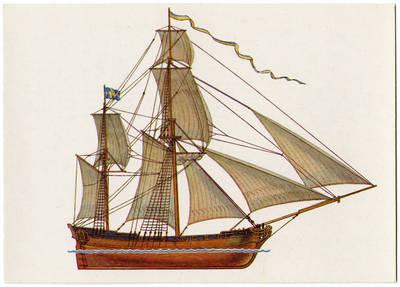 Viktoras Dygalo. Парусное судно гукор (гукер). 1990