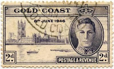 Aukso Kranto kolonijos (Britų imperija) 2 pensų proginis pašto ženklas