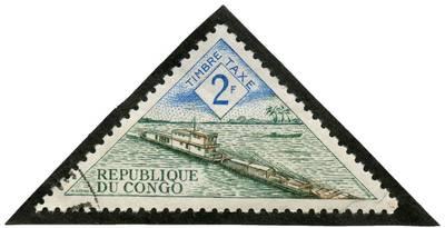 Kongo Respublikos 2 frankų pašto priemokos ženklas