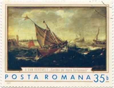 "Rumunijos pašto ženklas ""Corăbii pe mare furtunoasă"""