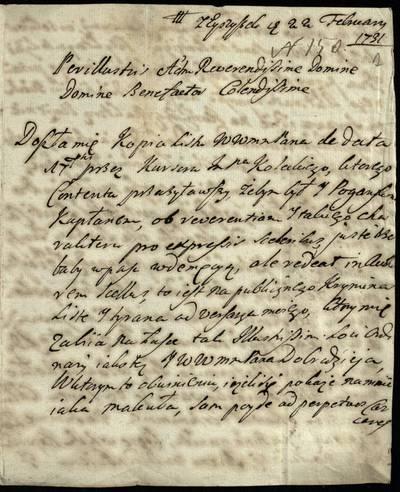 Vilniaus kapitulos fondas. F43, Bažnytinės valdos. Eiborovičiai - Filipovas. [A. Kaluševskio laiškas kan. A. Žebrovskiui apie A. Koleckio laišką]..