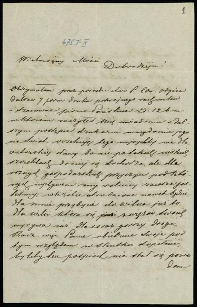 Autografų kolekcija. F7, Laiškai: raidė K. [Laiškai] / Kontkovskis (Kątkowski) Mykolas - Adomui Zavadskiui