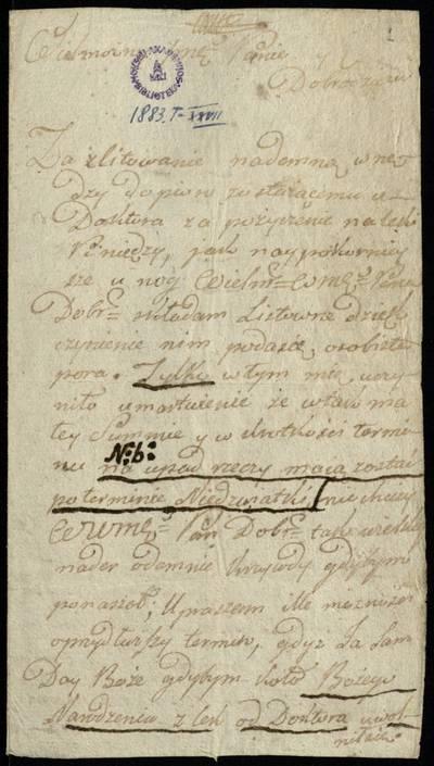 Autografų kolekcija. F7, Laiškai: raidė V. [Laiškas] / Vaitkevičius (Woytkiewicz) Laurynas - Leonui Palubinskiui. - 1789