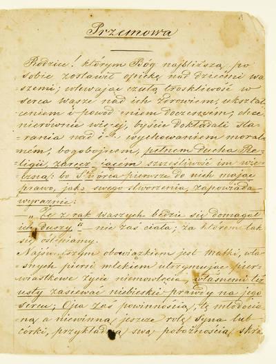 ŽEMAIČIŲ VYSKUPIJOS SEMINARIJOS DOKUMENTŲ FONDAS. IV : Mokymo proceso dokumentai. - 1822-1945. 107 : Przemowa