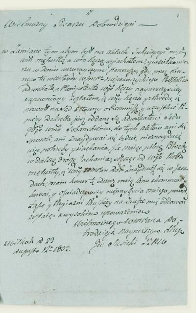 Kosakovskių šeimos archyvas. 9 : Archivalia. - 1698-1919. 1839 : [Laiškas Vincentui Tomaševičiui Končos bylos su Montvilais reikalu] / J. Siesickis. - 1802.VIII.29
