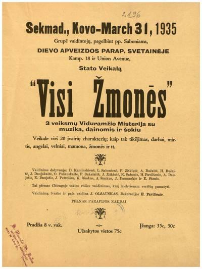 Sekmad., kovo - March 31, 1935 grupė vaidintojų ... Dievo Apveizdos parap. svetainėje ... stato veikalą