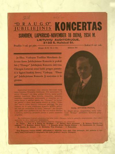 """""""Draugo"""" jubiliejinis koncertas šiandien, lapkričio-November 18 dieną, 1934 m., Lietuvių auditorijoje. - 1934"""