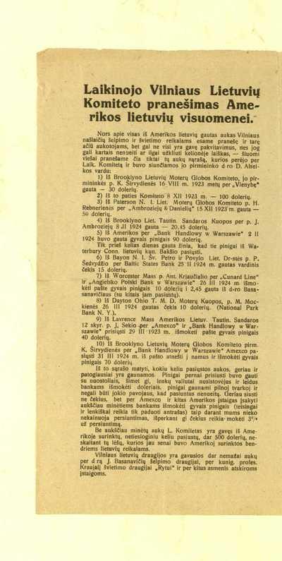 Laikinojo Vilniaus lietuvių komiteto pranešimas Amerikos lietuvių visuomenei. - 1924. - [1] p.