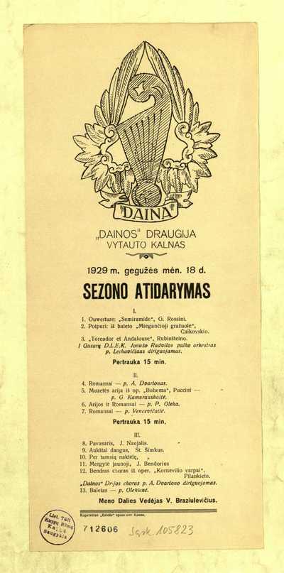 """""""Dainos"""" draugija. Vytauto kalnas. """"1929 m. gegužės mėn. 18 d. sezono atidarymas"""". - 1929]. - [1] p."""