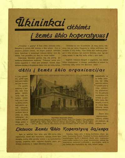 Ūkininkai dėkimės į žemės ūkio koperatyvus! - 1926]. - [2] p.
