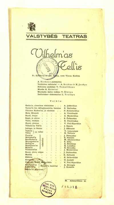 Vilhelm'as Tell'is Fr. Schliller'io 11 pav. drama. - 1935]. - [1] p. -  (Valstybės teatras)