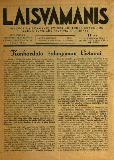 Laisvamanis / ats. redaktorius Andrius Randamonis-Rondomanskis (Andrius Rondomanskis). - 1933