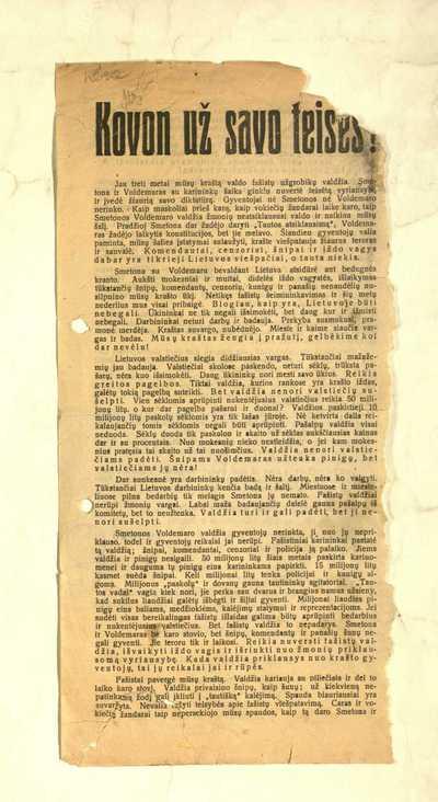 """Kovon už savo teises! """"Jau treti metai mūsų kraštą valdo fašistų užgrobikų valdžia"""" / Lietuvos socialdemokratų organizacijos užsieny Vykdomasis komitetas, Lietuvos valstiecių liaudininkų pol[itinių] emigrantų komitetas, Respublikos gynėjų sąjunga. Vyr[iausioji] valdyba. - 1929]. - [2] p."""