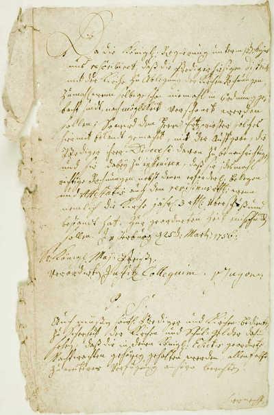 Da die konigl. Regierung . - 1756.V.25. - 1 lap.