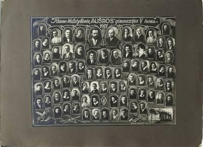 """Ekonominės karių bendrovės fotoateljė. Kauno valstybinės """"Aušros"""" gimnazijos V laida. 1927"""