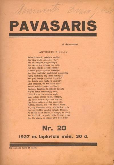 PAVASARIS. 1927-11-30