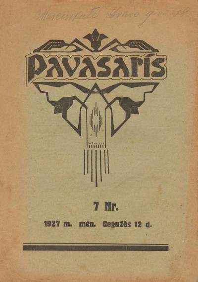 PAVASARIS. 1927-05-12