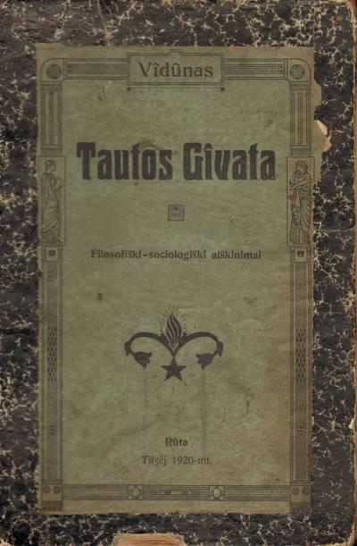 Vilhelmas Storosta. Knyga. Tautos gyvata. 1920