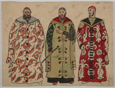 """Mstislavas Dobužinskis. Bajorai. Vyrų choro 3-jų kostiumų eskizai Modesto Musorgskio operai """"Borisas Godunovas"""". 1930 m."""