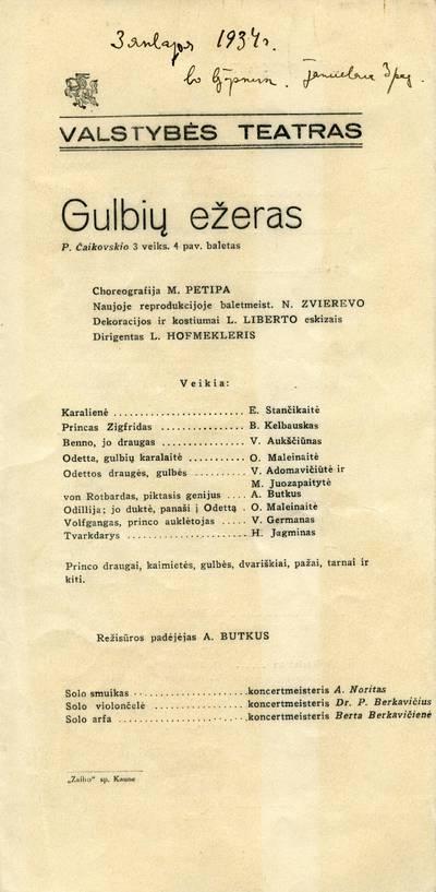 """Valstybės teatro spektaklio - Piotro Čaikovskio baleto """"Gulbių ežeras"""" - programa."""