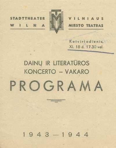 Dainų ir literatūros vakaro programa.