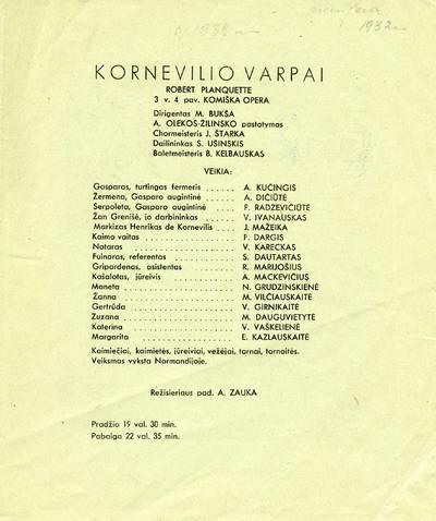 M. Bukšos rinkinio spektaklio programa. ~1939
