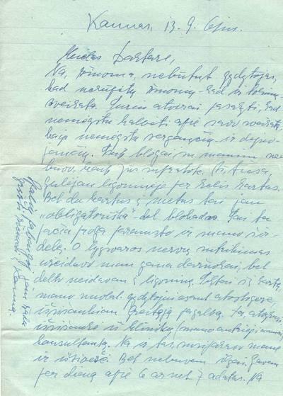Ieva Simonaitytė. Laiškas rašytas Valteriui Didžiui nuo Ievos Simonaitytės, 1961 m. 1961-09-13