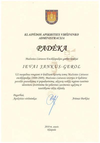 Padėka Mažosios Lietuvos Enciklopedijos garbės leidėjai Ievai Jankutei. 2010-01