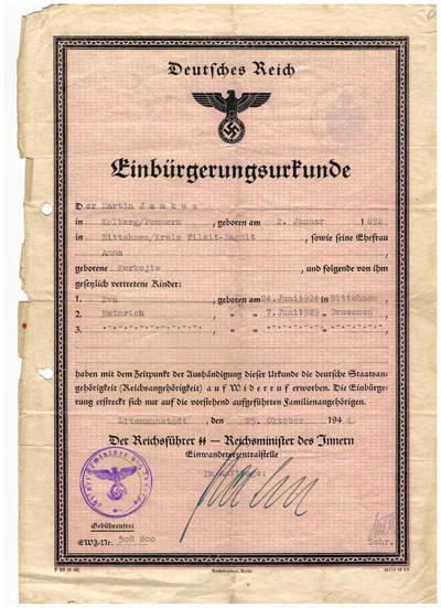 Vokietijos pilietybės suteikimo dokumentas. 1944-10-25