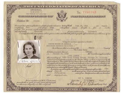Ievos Jankutės Amerikos pilietybės suteikimo dokumentas 1957 m. 1957-01-22