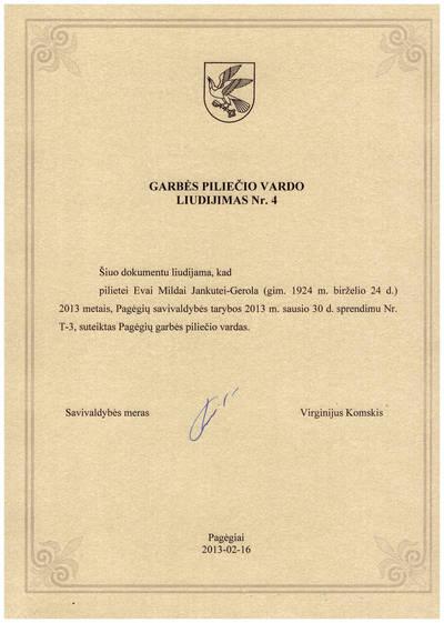 Pagėgių garbės piliečio vardo liudijimas Nr. 4. 2013-01-30