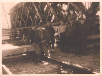 Geležinkelio tilto Pagėgiai- Tilžė statybos darbai. 1970