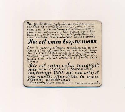 Kunigo B. Šveikausko Sibire naudota kortelė su lotyniška sentencija iš Biblijos. 1950