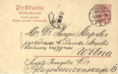 Enzys Jagomastas. Enzio Jagomasto laiškas Jurgiui Šlapeliui, 1908 m. 1908