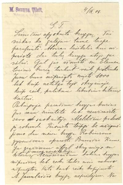 Mortos Zauniūtės laiškas. 1907-09-04