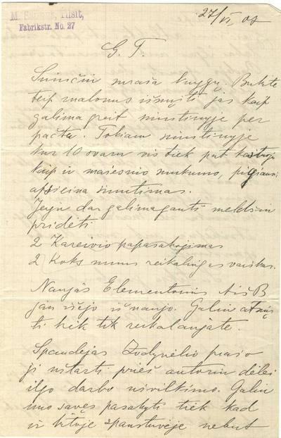 Mortos Zauniūtės laiškas. 1907-06-27