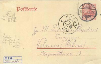 Vydūno laiškas. 1910-07-19