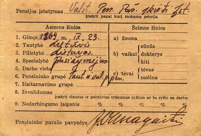 Jono Vanagaičio Pensininko – šelpiamoji kortelė. 1942-07-01