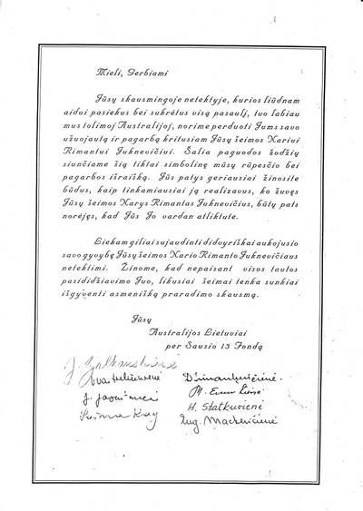 Australijos lietuvių užuojauta Rimanto Juknevičiaus (1966-08-09-1991-01-13) artimiesiems. 1991