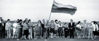 Kęstutis Jakubauskas. Marijampoliečiai Baltijos kelyje 1989-08-23. 1989-08-23
