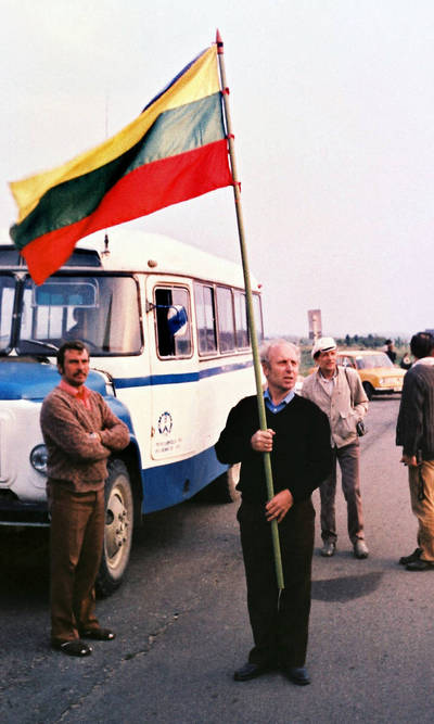 Antanas Gudelevičius. Marijampoliečiai Baltijos kelyje 1989-08-23. 1989-08-23