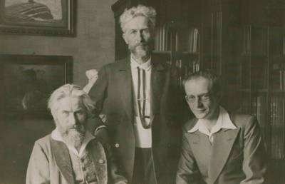 Nuotrauka. Vydūnas, Fidus (H. Hoppeneris) ir V. Falkenhanas. 1935