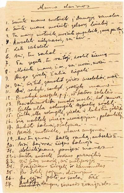"""Salomėja Nėris. Rankraštis. """"Mano dainos [S. Nėries rašytas lietuvių liaudies dainų sąrašas]. 1934"""