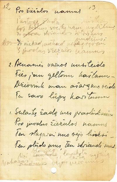 """Salomėja Nėris. Rankraštis. """"Benamės varnos"""" [eilėraštis]. 1937-11-16"""
