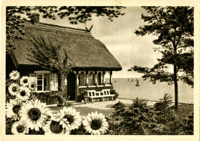 Paul Jsenfels. Nidden (Kurische Nehrung, Ostpreußen) Haus Isenfels – Höhenausblick übers Haff. 1950